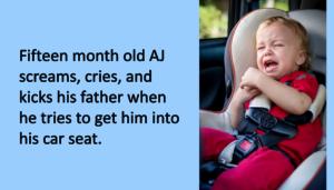 Toddler boy in car seat crying